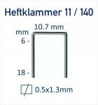 Heftklammer Typ 11 / Typ 140 - Abmessungen