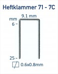 Heftklammer Typ 71 Typ 7C - Abmessungen